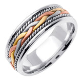 14K Tri Color Handmade Braided Cord Wedding Ring Band, For His and Hers