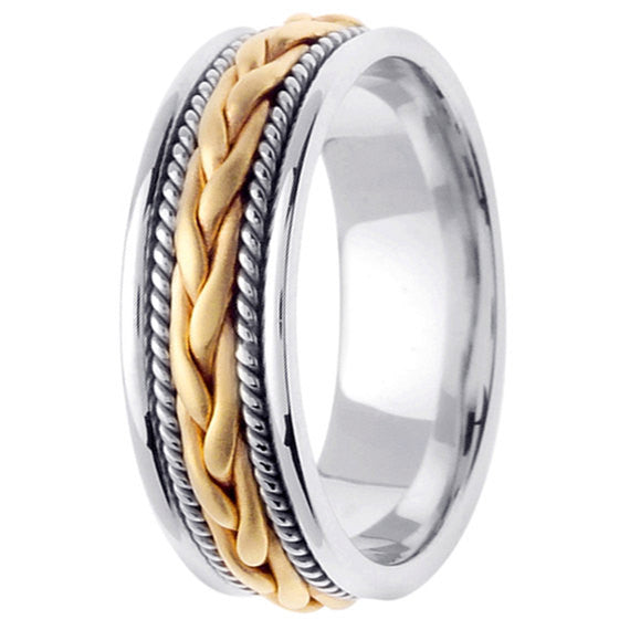 14K Two Tone Hand Braided Cord Wedding Ring Band, For His and Hers