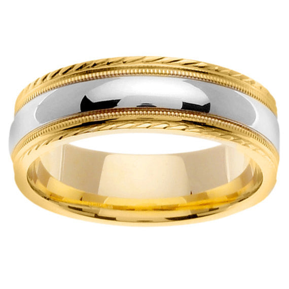 14K Two Tone Gold Mens & Womens Wedding Ring Band, For His and Hers