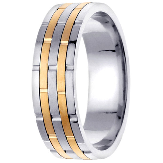 14K Two Tone Gold Alternating Textured 5 Row Brick Pattern Wedding Ring Band, For His and Hers
