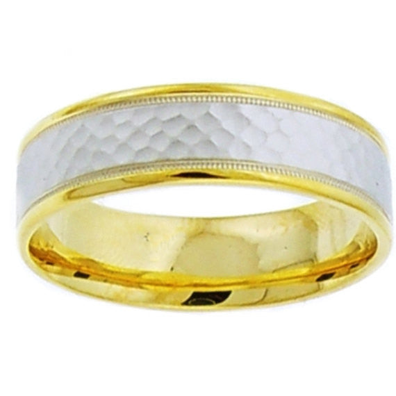 14K Two Tone Gold Hammer Wedding Band, For the Bride and Groom
