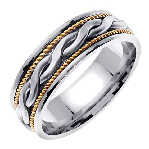 14K Gold Braided Center Yellow Gold Rope Edges Wedding Band Ring, For the Bride and Groom