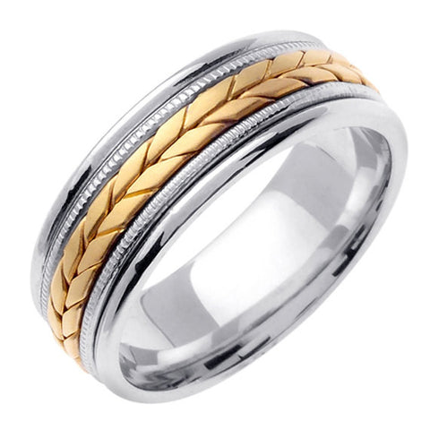 14K Two Tone Gold Hand Braided Wheat Pattern Wedding Ring Band, For His and Hers