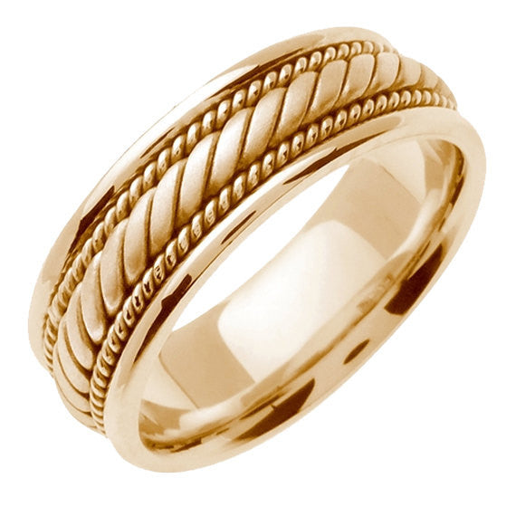 14K Yellow Gold Hand Braided Cord Wedding Ring Band, For the Bride and Groom