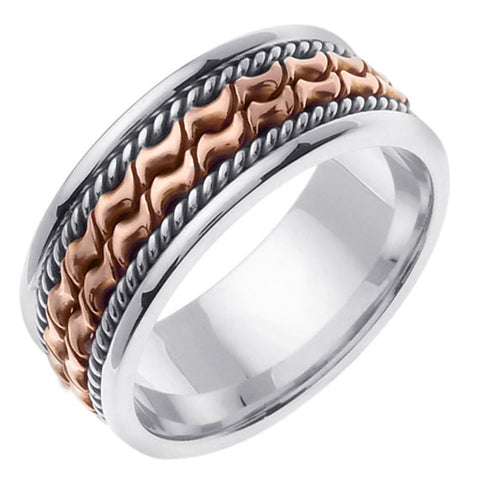14K Two Tone Gold Hand Braided Cord Wedding Ring Band, White & Rose Gold Center with a White Gold Base for Men or Women (Sizes 3-14) 7mm