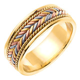 14K Tri Color Hand Braided Cord Wedding Ring Band, For His and Hers