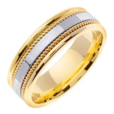 14K Two Tone Gold Unique Wedding Ring Band, For His and Hers
