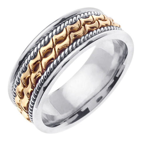 14K Two Tone Gold Hand Braided Cord Wedding Ring Band, White & Yellow Gold Center with a White Gold Base for Men or Women (Sizes 3-14) 7mm