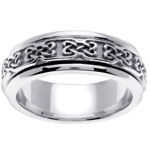 14K White Gold Celtic Wedding Ring Band, For His and Hers