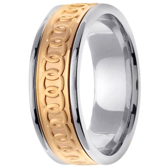 14K Two Tone Gold Celtic Wedding Ring Band, For the Bride and Groom