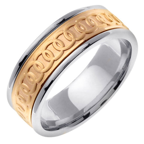Titanium & 14K Gold Celtic Wedding Ring Band, His and Hers