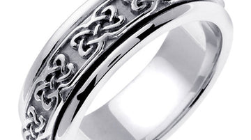 Titanium & Gold Celtic Knot Design Ring Band