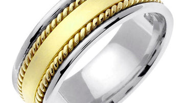 Titanium and Gold Side Braid Design Ring Band