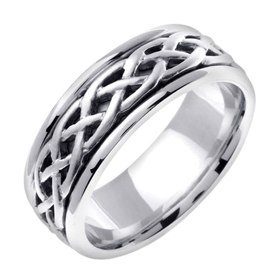 Titanium & 14K White Gold Celtic Wedding Ring Band