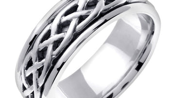 Titanium & Gold Celtic Infinity Knot Design Ring Band