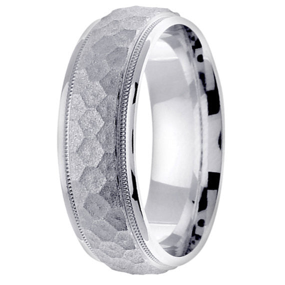 14K White Gold Textured Honeycomb Wedding Ring Band, For His and Hers