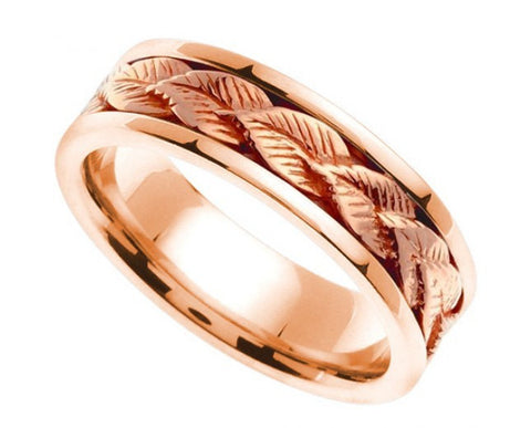 14K Pink/ Rose Gold Leaf Design Wedding Band, For the Bride and Groom