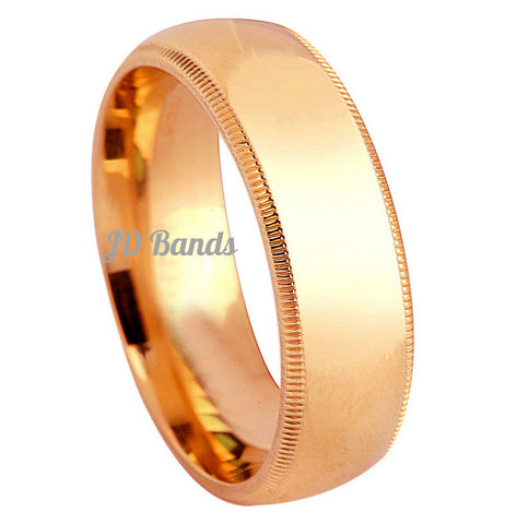 14K Gold High Polished Comfort Fit Milgrain Wedding Bands, For His and Hers