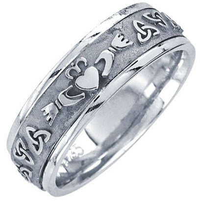 14k White Gold Celtic Claddagh Wedding Band, For the Bride and Groom