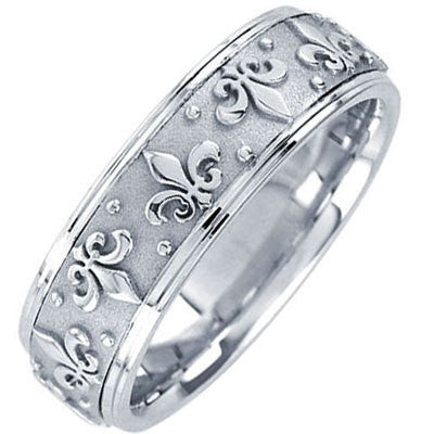 14K White Gold Fleur-De-Lis Wedding Ring Band, For His and Hers