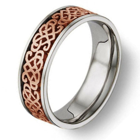 Celtic Heart Knot Wedding Band 14K Rose Gold and Titanium, For the Bride and Groom