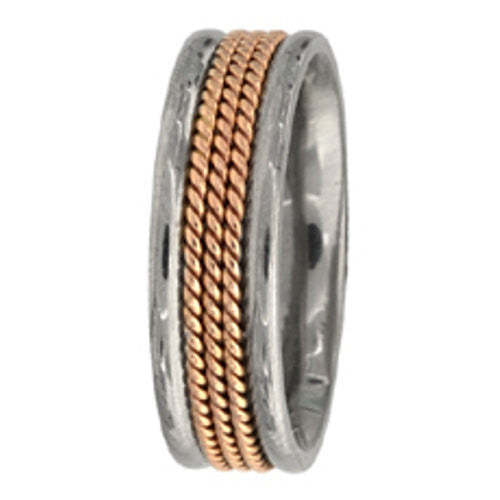 Titanium and 14K Rose Gold Hand Braided Wedding Ring Band