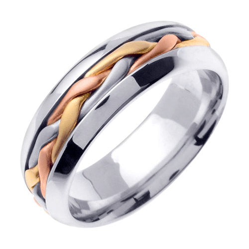 Titanium and 14K Tri Color Gold Hand Braided Cord Wedding Ring Band, For Men or Women (Sizes 3-14) 7mm