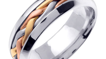 Titanium and Gold Hand Braided Cord Ring Band