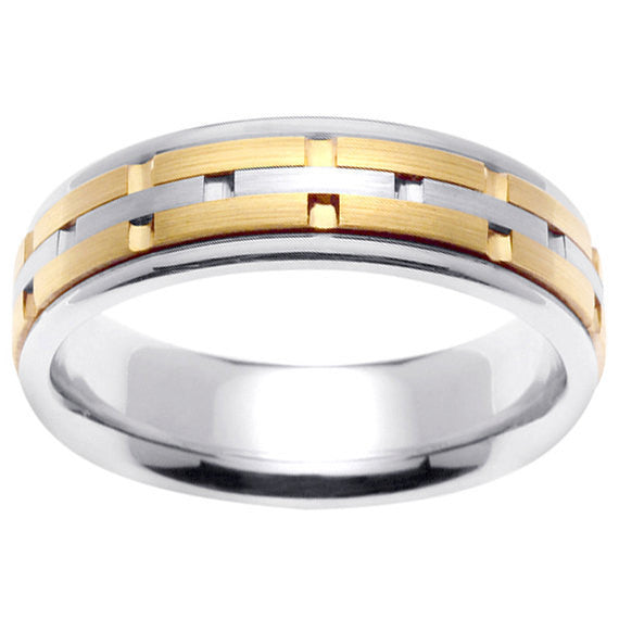 Titanium and 14K Gold Wedding Ring Band