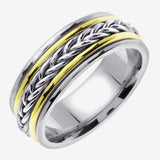 Titanium and 14K Two Tone Gold Hand Braided Cord Wedding Ring Band
