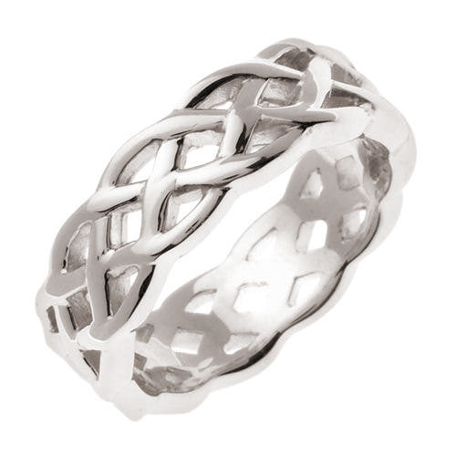 18k White Gold Celtic Knot Wedding Band, For the Bride and Groom