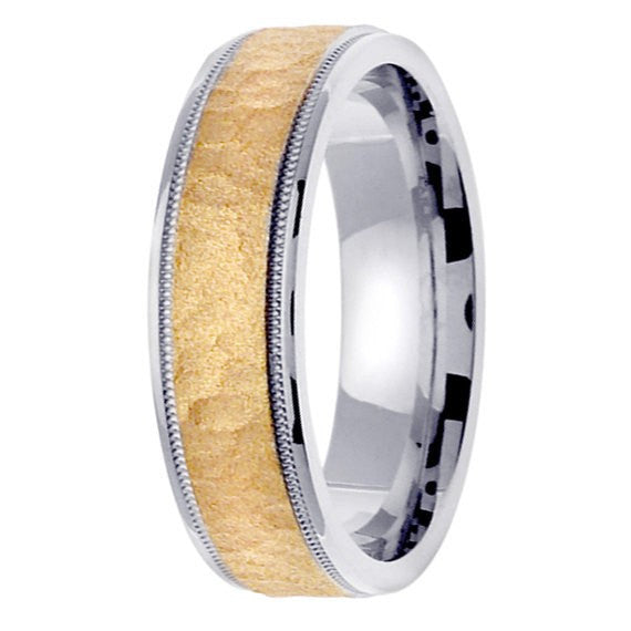 14K Two-Tone Gold Hammered Wedding Ring Band, For the Bride and Groom