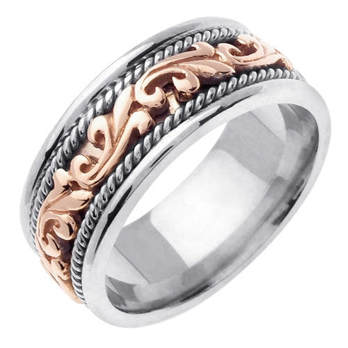 9mm 14K White - Rose Gold Pasley Hand Braided Wedding Ring Band