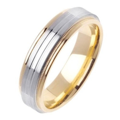 14K Two-Tone Gold Brush Finished Wedding Ring Band, For the Bride and Groom