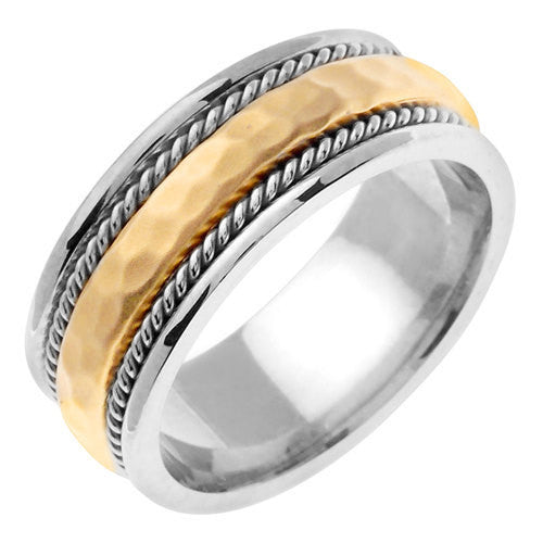 Titanium and 14K Gold Domed Hammered Wedding Band, For the Bride and Groom