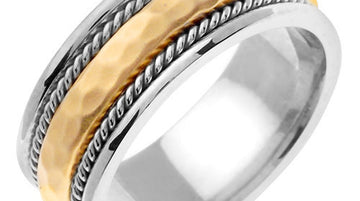 Titanium and Gold Domed Hammered Finish Ring Band