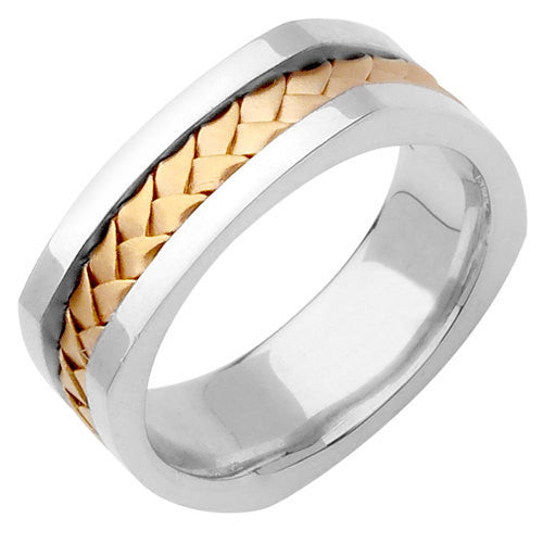 Titanium and 14K Two Tone Gold Hand Braided Wedding Ring Band