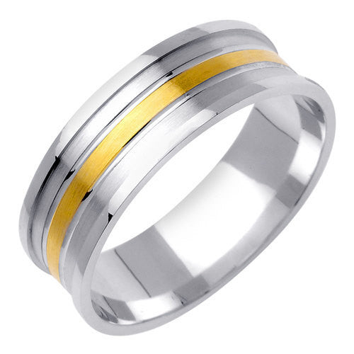 Titanium and 14K Two Tone Gold Row Carved Wedding Ring Band