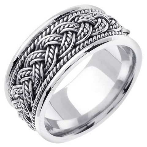 Sterling Silver 7 Strands Hand Braided Wedding Ring Band, For His and Her