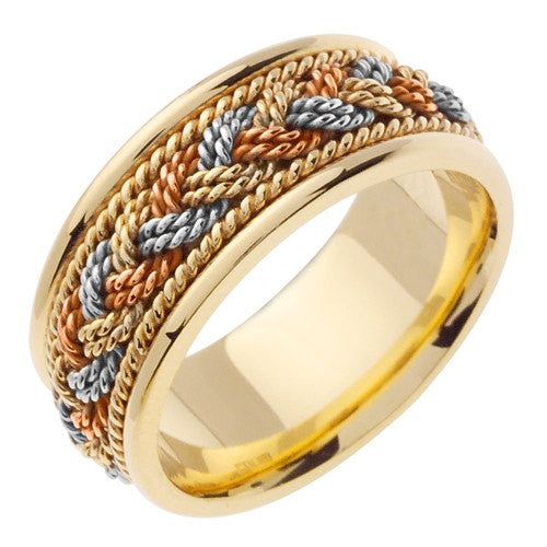 14K Tri-Color Gold 7 Strand Hand Braided Wedding Ring Band, For the Bride and Groom