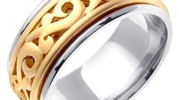 Titanium and Gold Celtic Ring Band