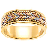 18K Tri Color Hand Braided Cord Wedding Ring Band, For the Bride and Groom