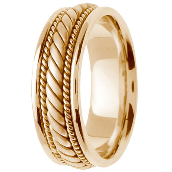 18K Yellow Gold Hand Braided Cord Wedding Ring Band, For His and Her