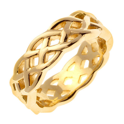 18K Celtic Knot Yellow Gold Wedding Ring Band, For His and Her
