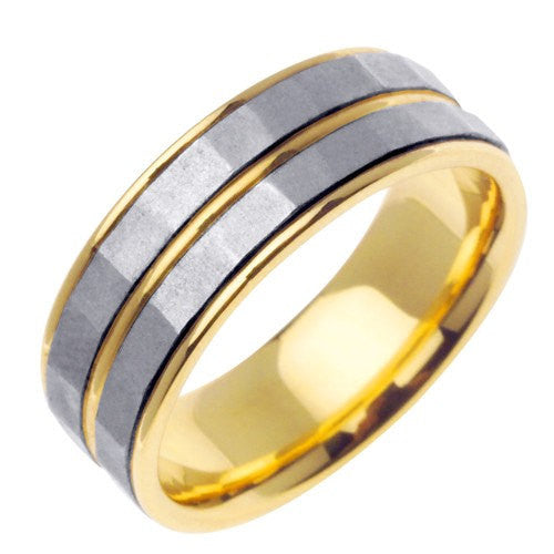 14K Two-Tone Gold Polished Edge Wedding Ring Band, For the Bride and Groom