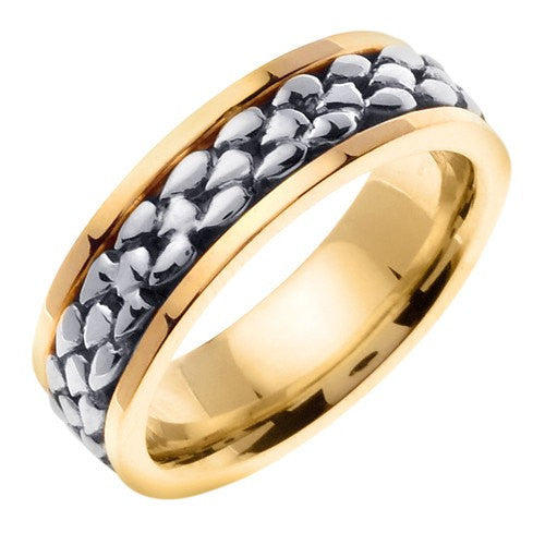 14K Two-Tone Gold Celtic Wedding Ring Band, For His and Her