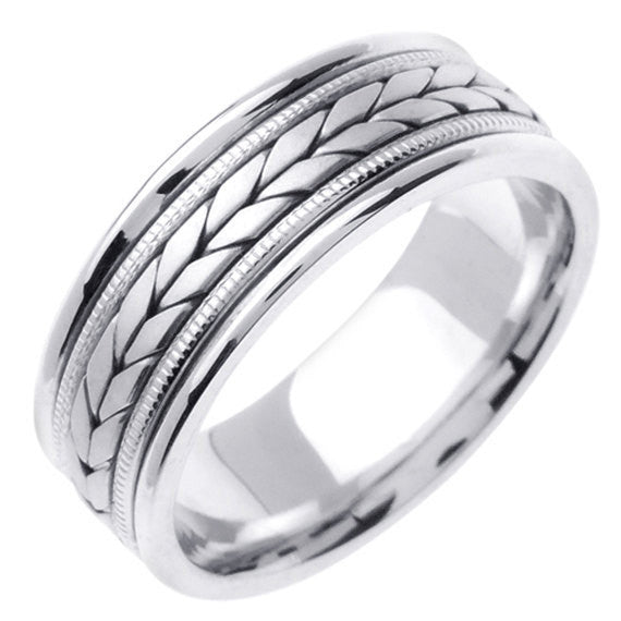 Titanium and 14K White Gold Hand Braided Wheat Pattern Wedding Ring Band, For the Bride and Groom