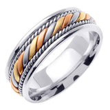 Titanium and 14K Tri Color Hand Braided Cord Wedding Ring Band, For the Bride and Groom