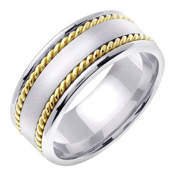 Titanium and 14K Two Tone Gold Unique Wedding Ring Band