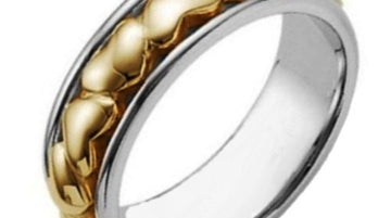 Titanium and Gold Eternal Heart Ring Band